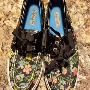 Sperry black floral top siders